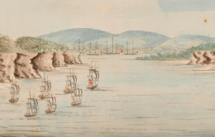 Watercolour painting of ships entering Botany Bay.