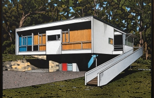 Painting of rectangular modernist house with white ramp on righthand side in bushland setting.