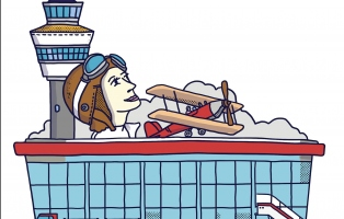 Illustrated image of Nancy Walton looking upwards atop Sydney airport.