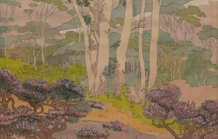 Gel-lithograph with brush and coloured ink and dyes on dark mauve coloured silk of Tasmanian Eucalyptus and Leptospermum Shrubs.