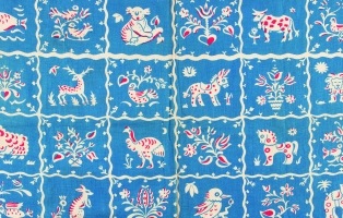 Textile design showing kangaroos and emus in blue, red and white