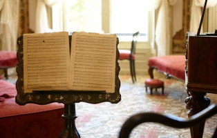 Sheet music on stand at Vaucluse House