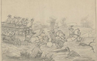 Drawing that shows a horse and carriage crossing a flooded river