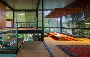 Photo Looking Across The Interior Of A Modernist House Stair Can Be Seen And