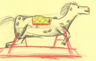 A cropped image of a hand drawn rocking horse