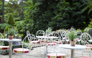 Photo of cafe tables with a lush garden background