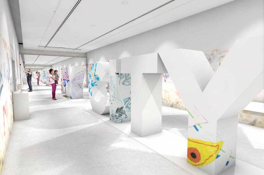 Image depicting a white cube galleryspace with big three dimensional white lettering reading: My City Is... some of the letters have been decorated with drawings