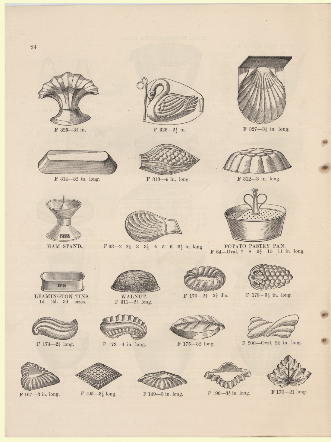 Page from book showing twenty-one different mould shapes.