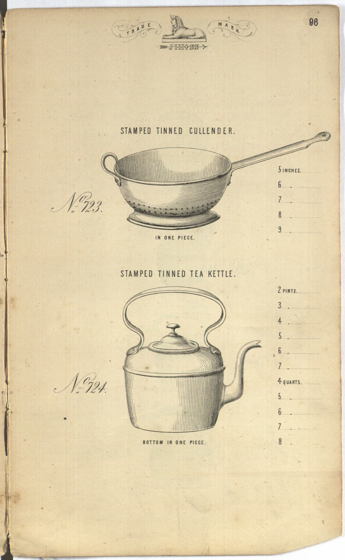 Page from book showing two different tinware items: a colander at the top and a kettle at the bottom.