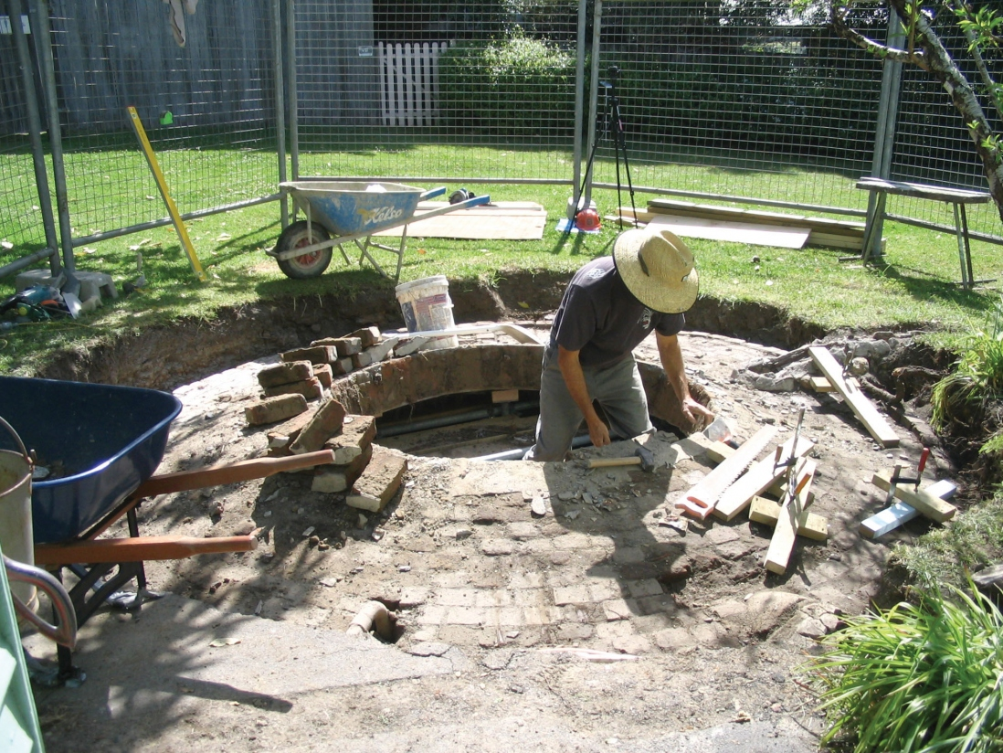 Underground water tank or cistern with domed roof being reconstructed