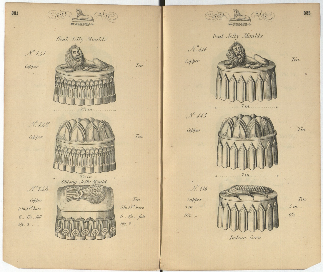 Page from book showing six different jelly mould shapes.