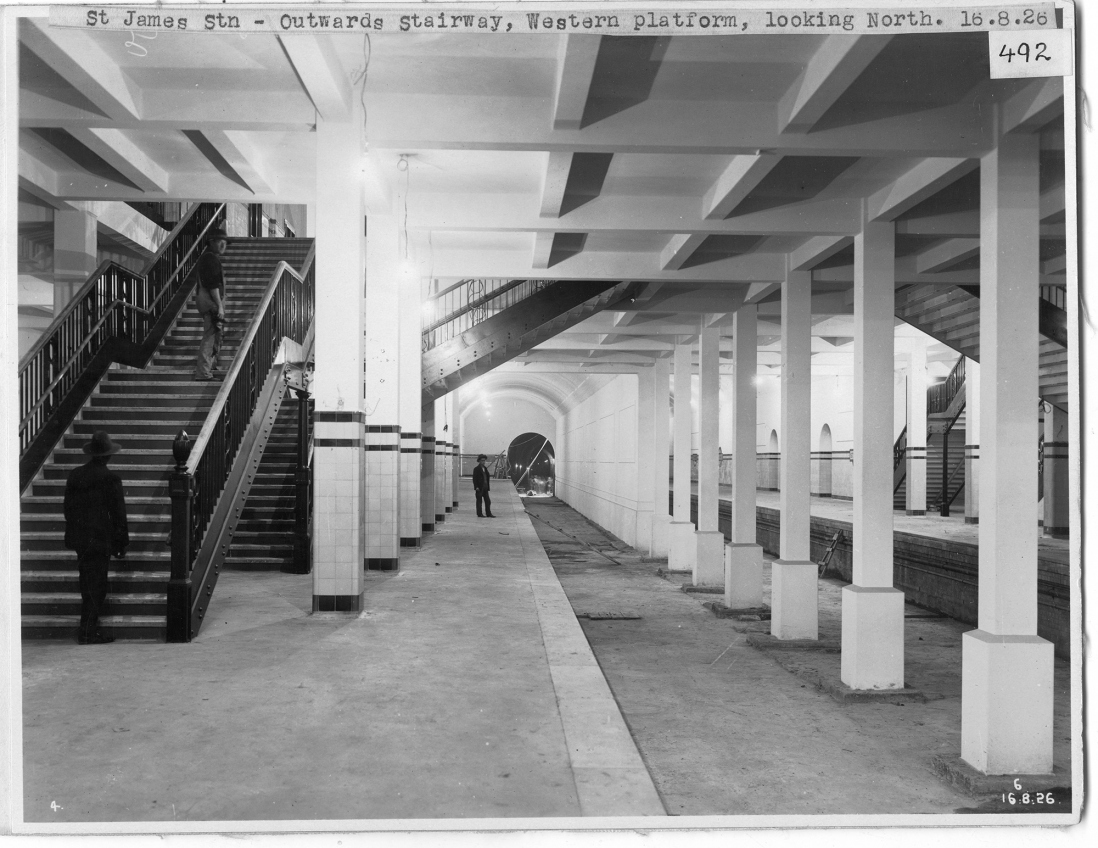 Series of girders and set of stairs.