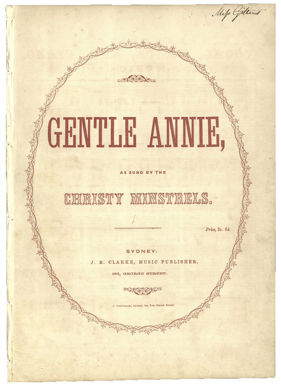 Gentle Annie as sung by the Christy Minstrels