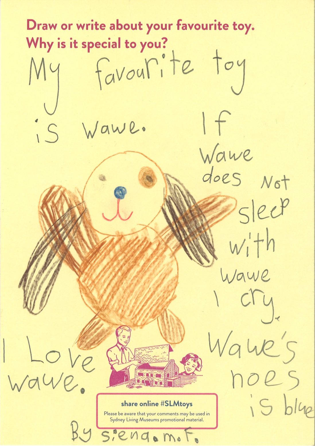 A child describes her stuffed toy dog with a blue nose who she needs to sleep