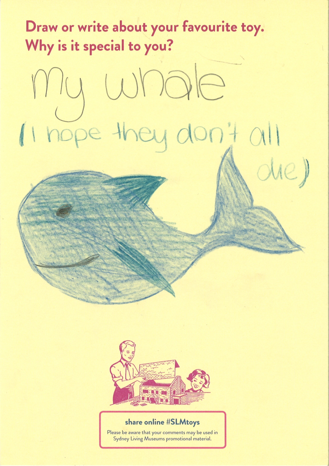 A child's drawing of a smiling blue whale