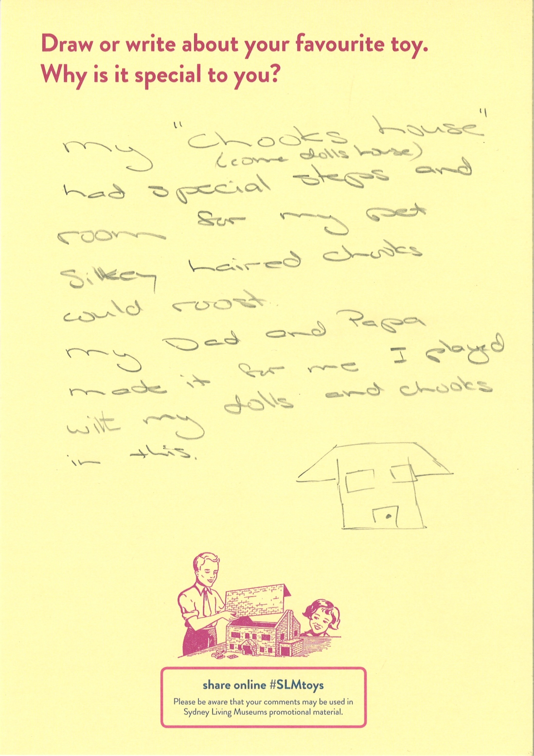 This is shows a handwritten story about a doll house
