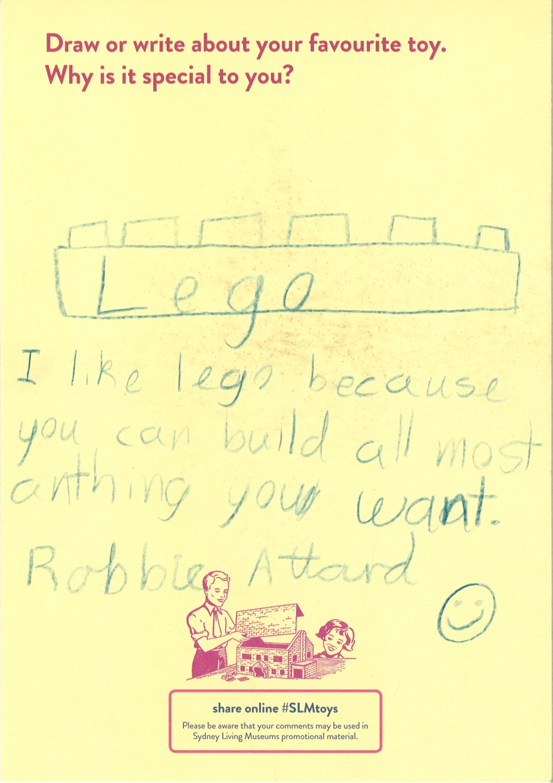 This is a drawing of a piece of Lego with a handwritten story