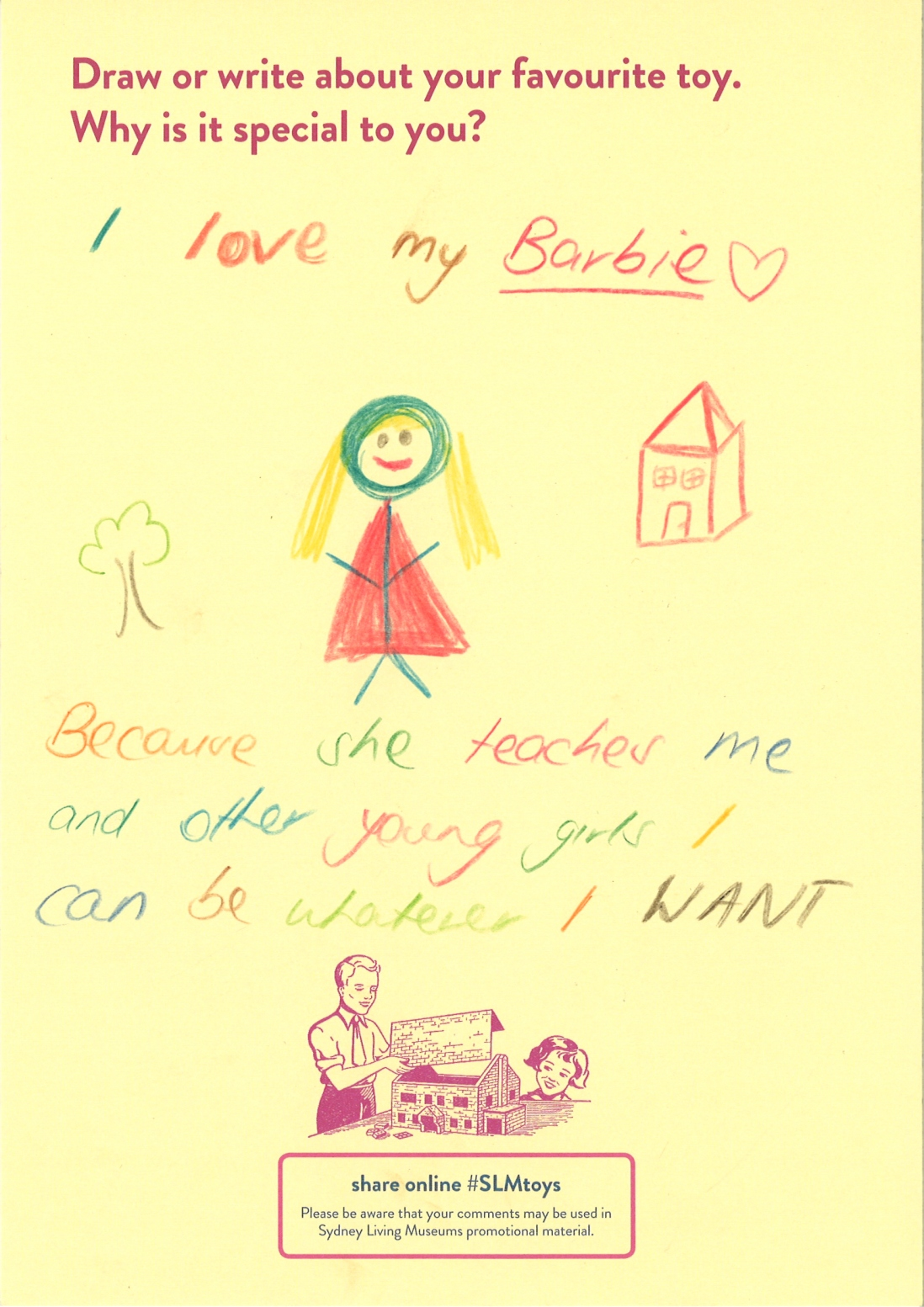 This is a drawing of a Barbie with a hand written story