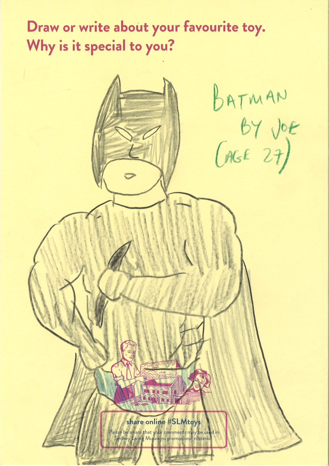 An adults drawing of Batman