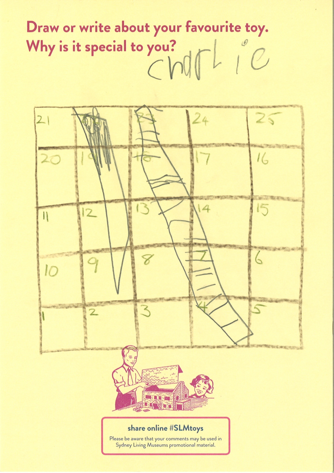 A child's drawing of snakes and ladders board game
