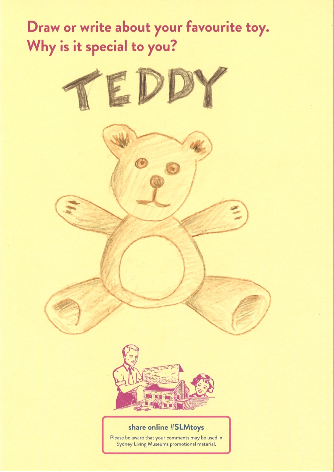 A drawing of a brown teddy bear
