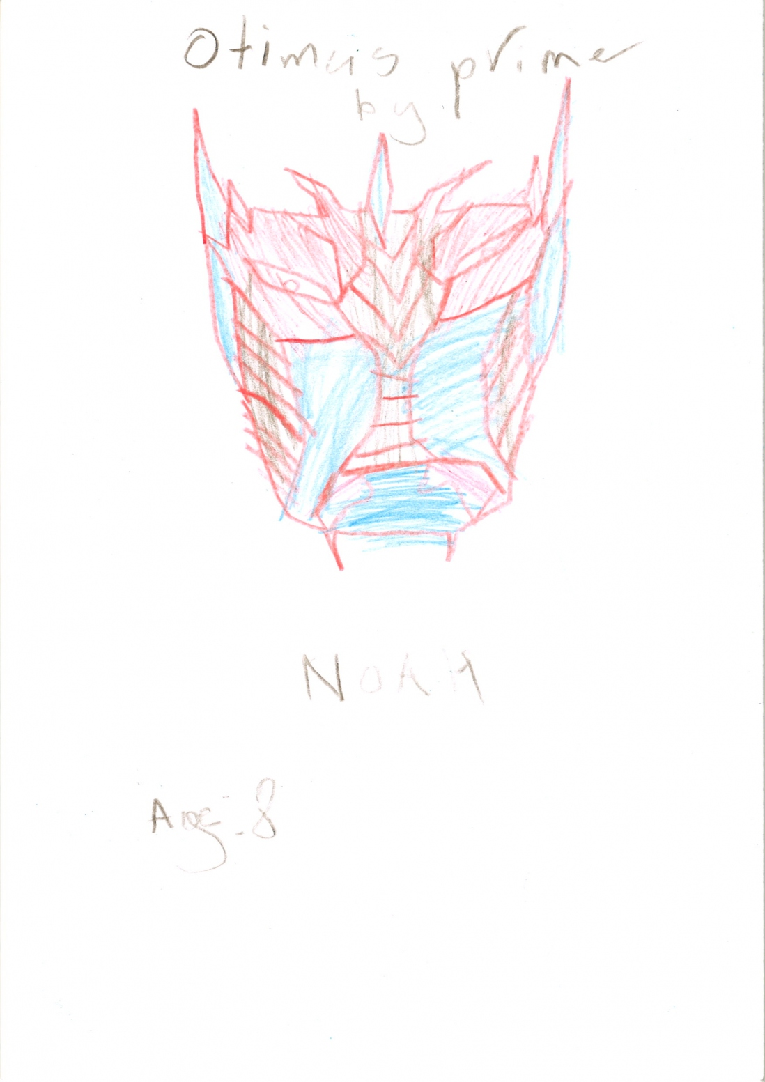 A child's drawing of the face of Optimus Prime, leader of the transformers