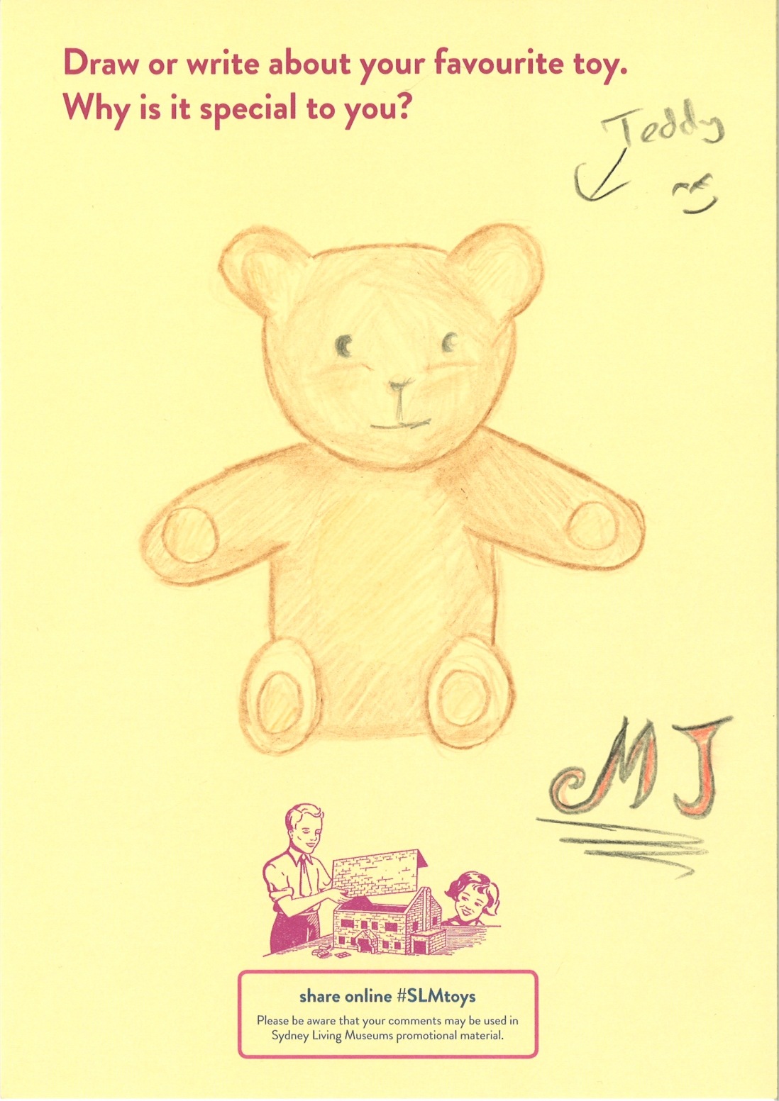An adult's drawing of a brown teddy bear