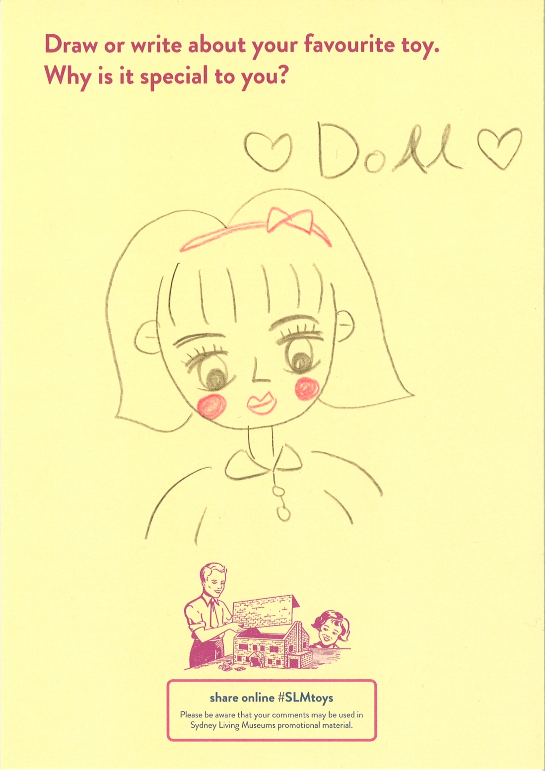 A drawing of  a doll with red cheeks lips and bow in hair