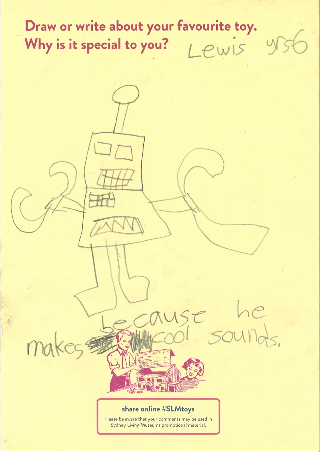 A childs drawing of a robot with large hands