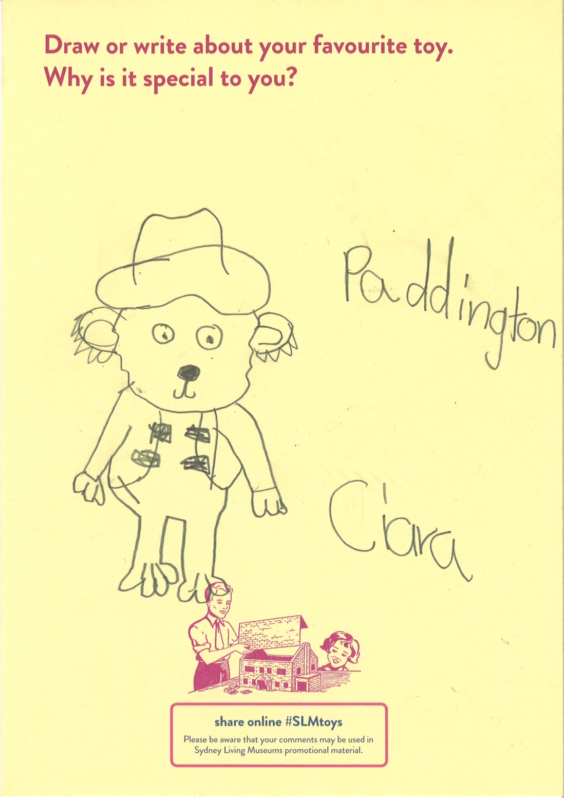A child's drawing of Paddington Bear