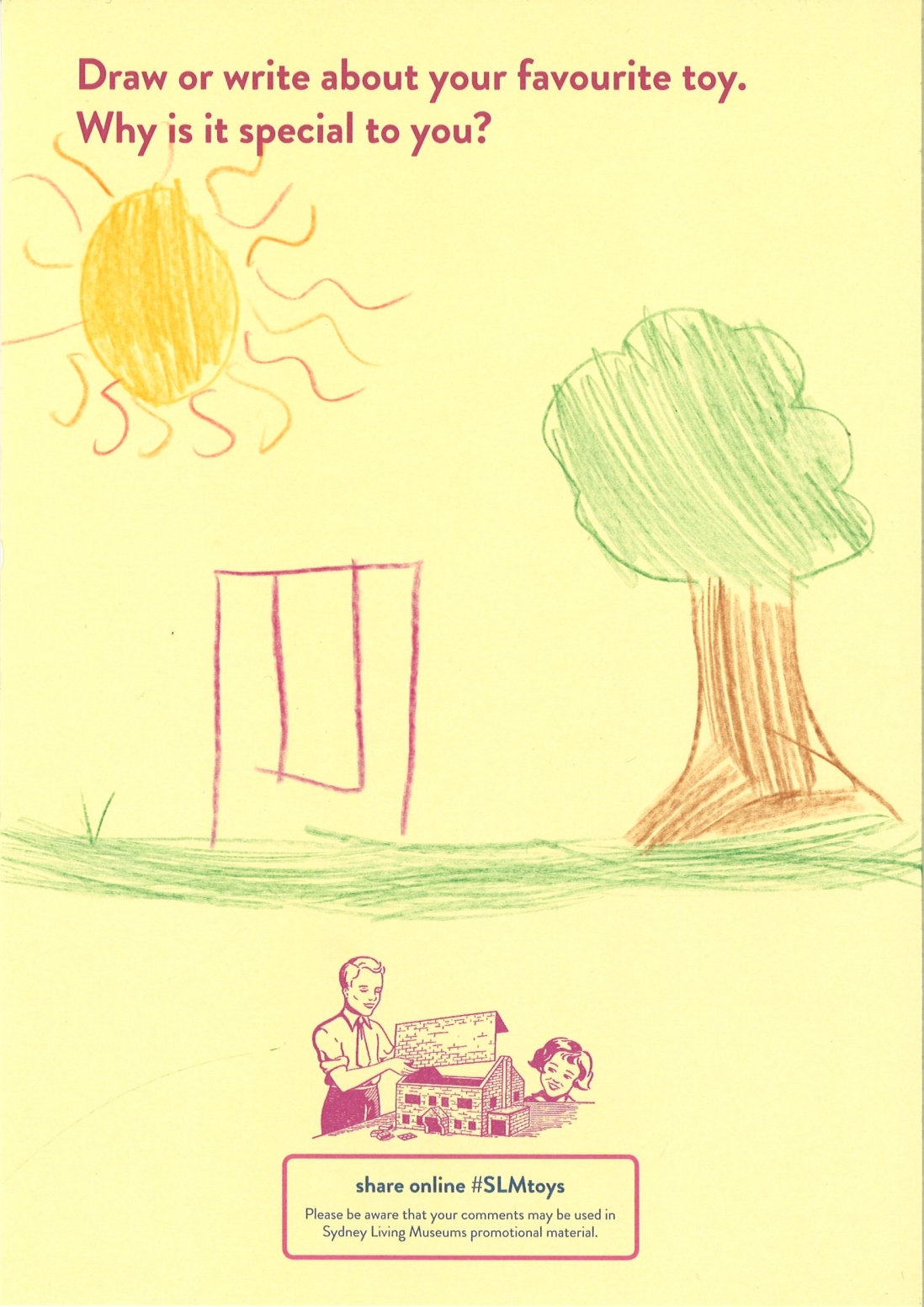 A child's drawing of a swing set