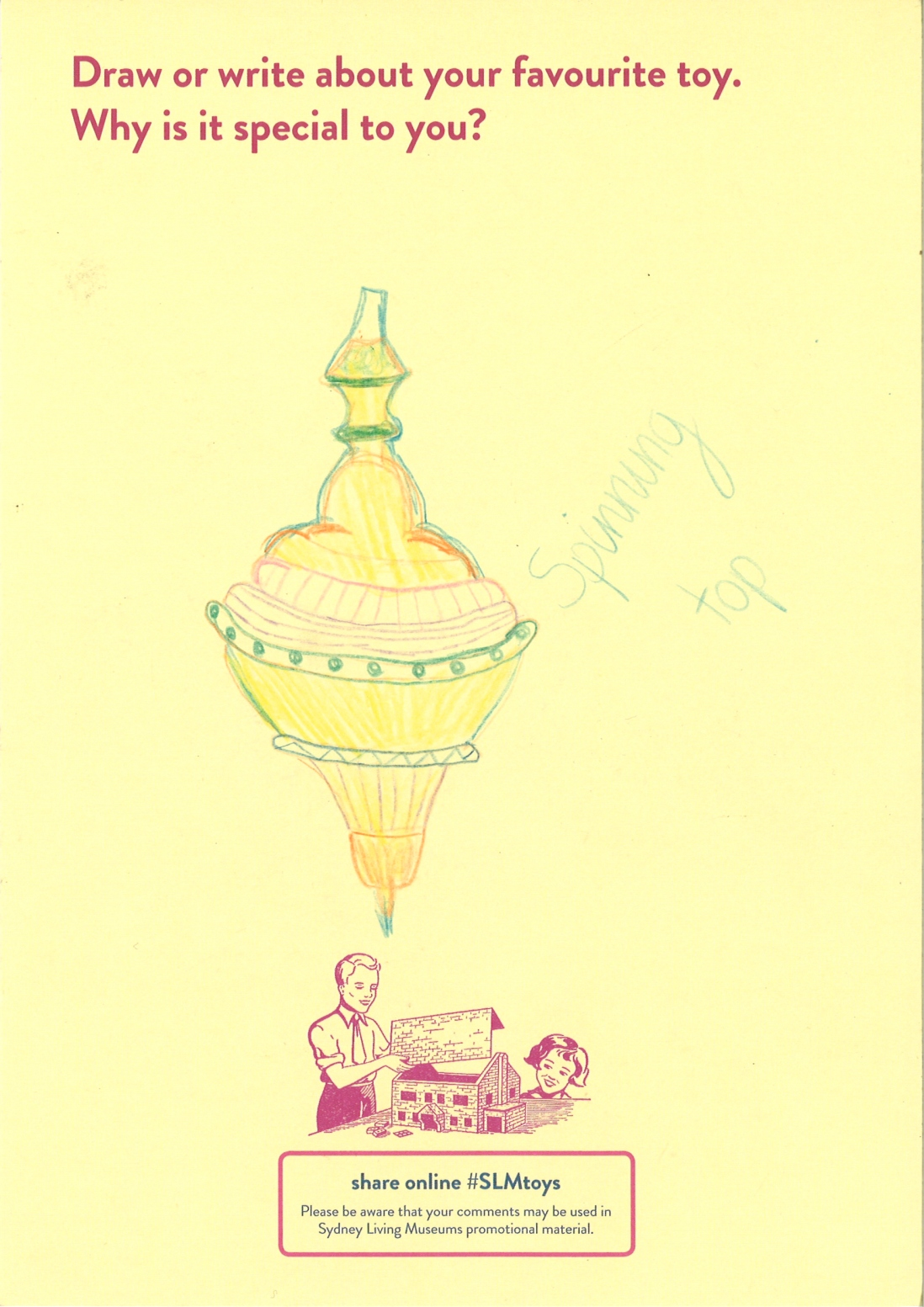 A colourful drawing of a spinning top toy