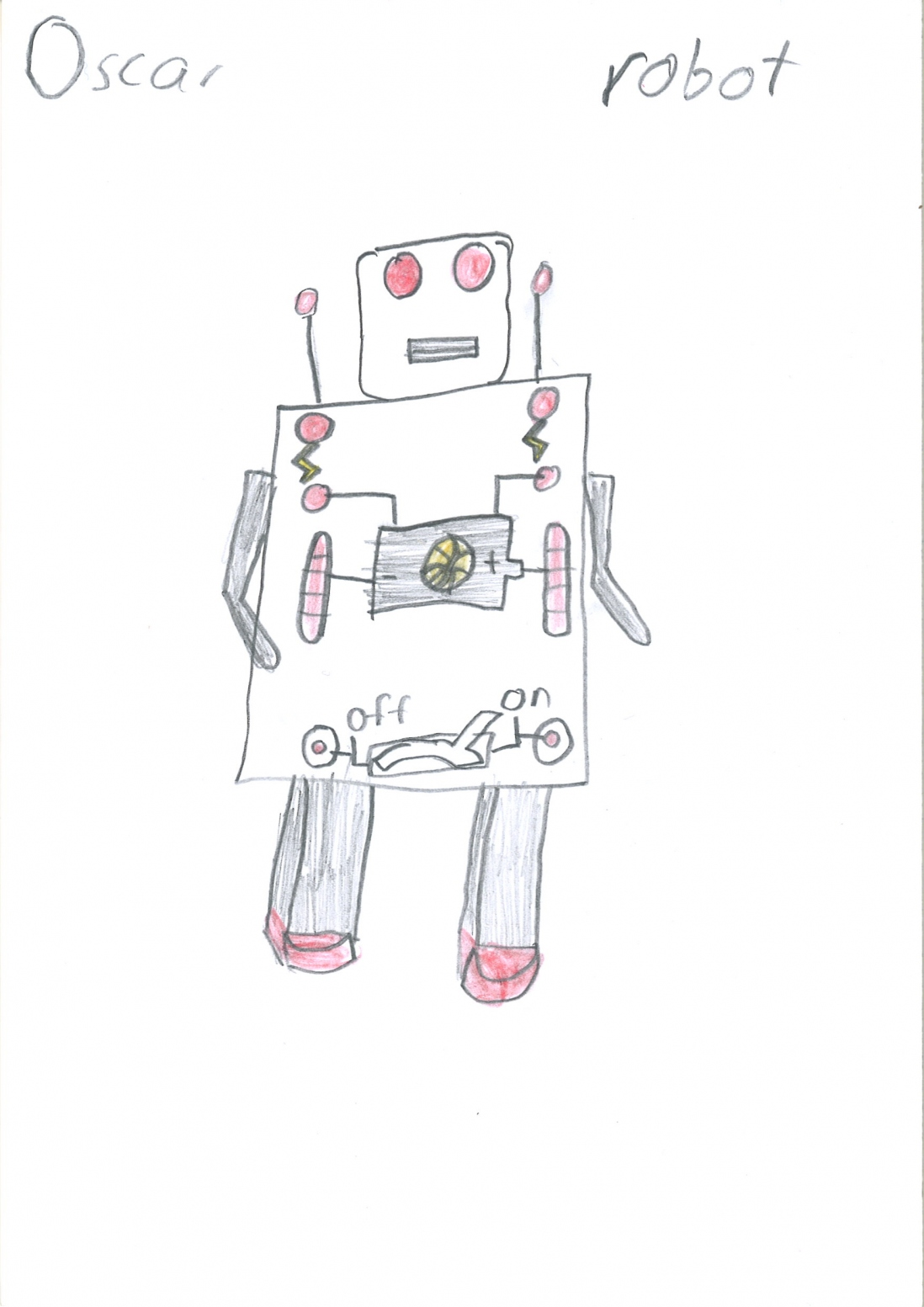 A child's drawing of a robot with red eyes