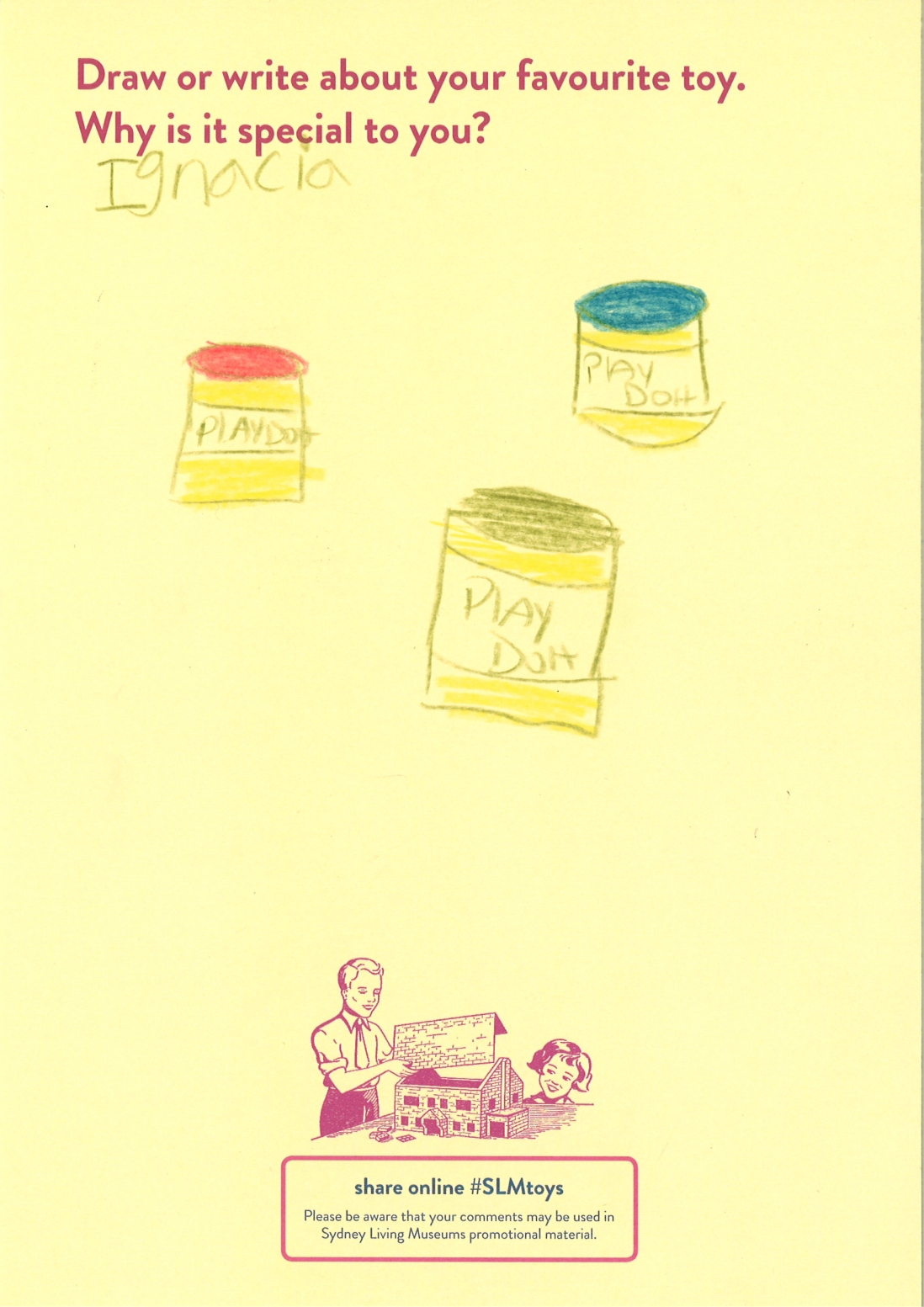 A child's drawing of three different coloured pots of play doh