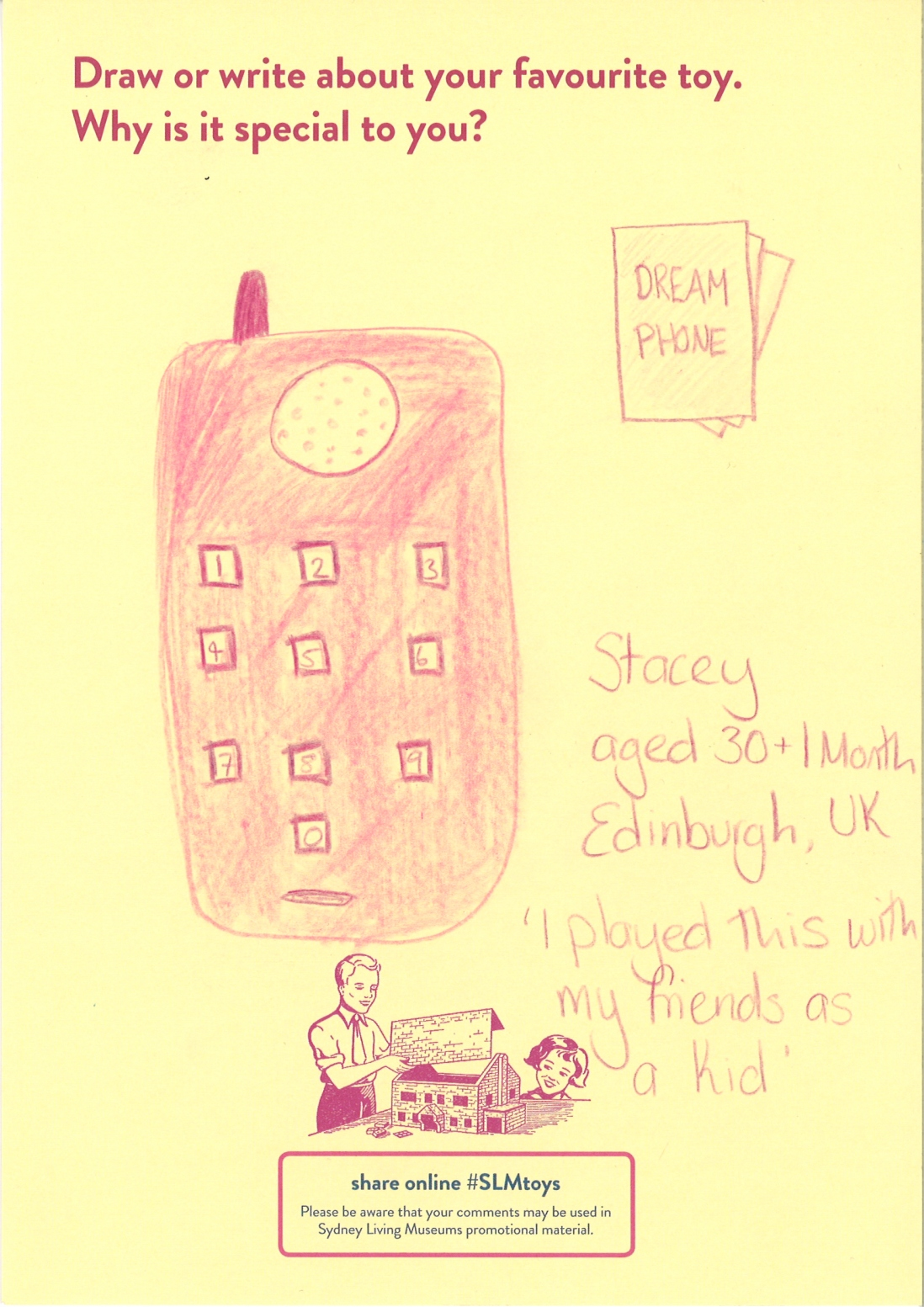 A drawing of a bright pink Barbie toy phone