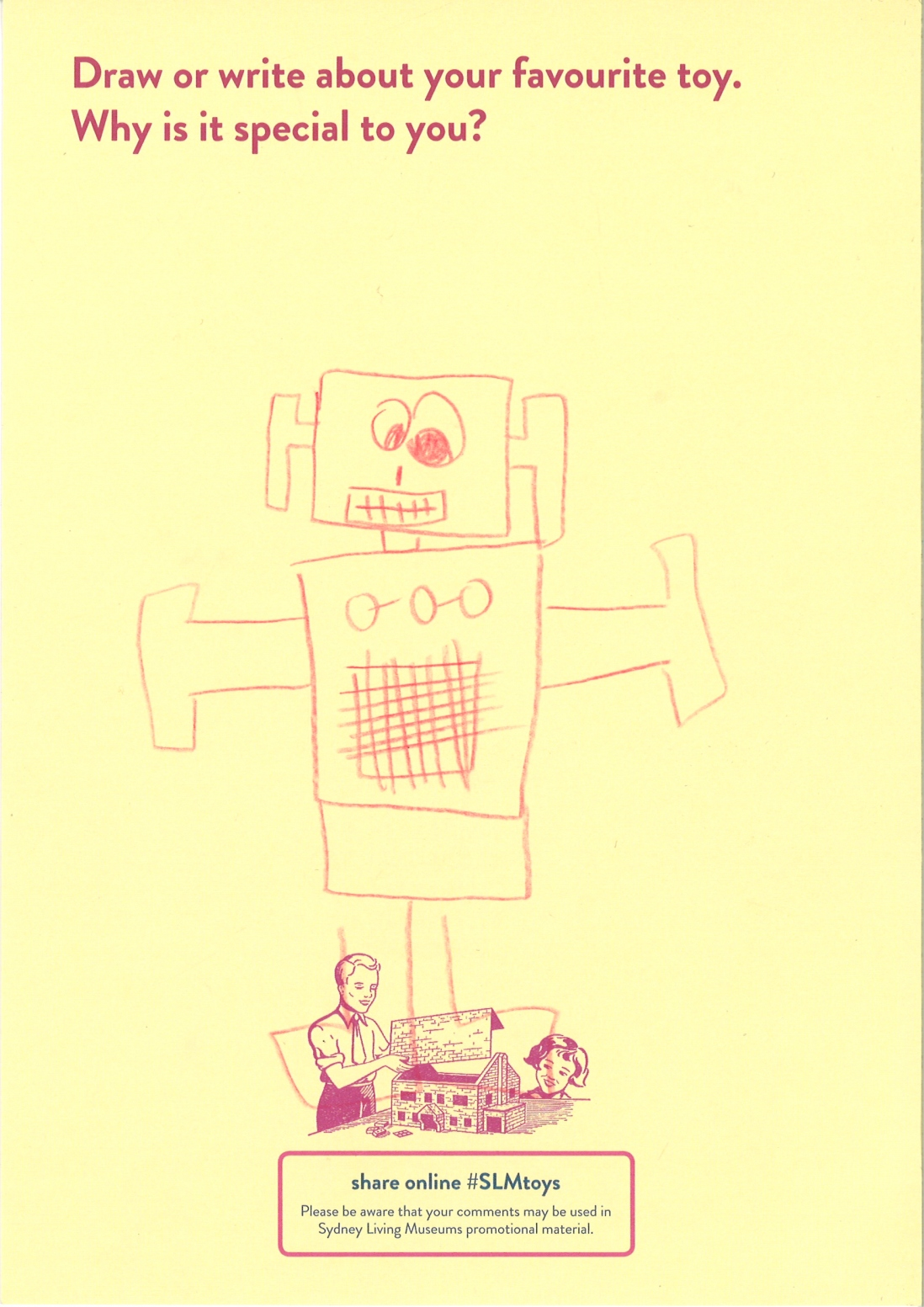 A child's drawing of a red robot with crazy eyes