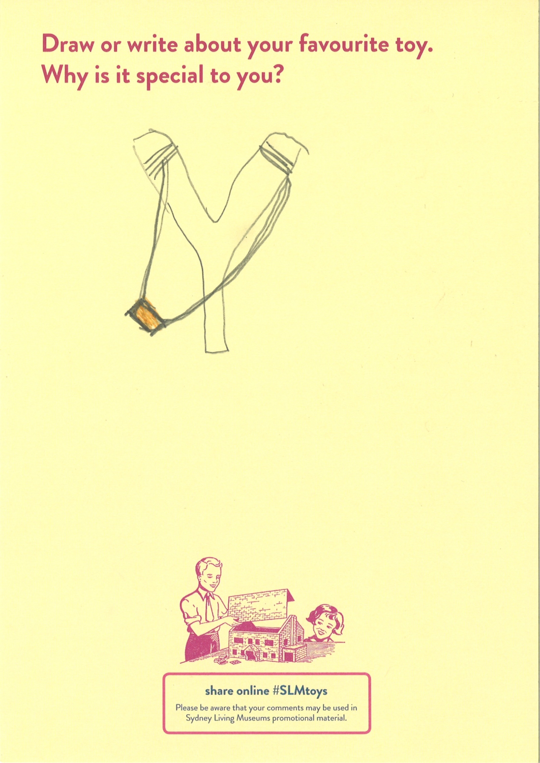 A child's drawing of a sling shot