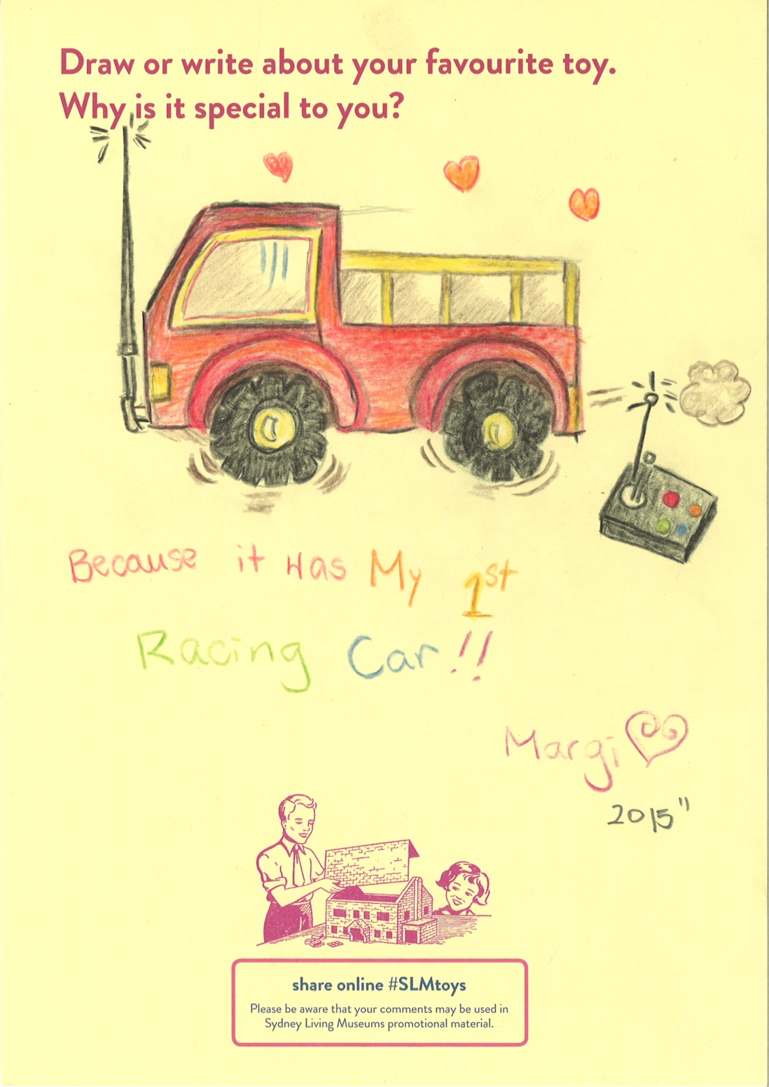 A drawing of a racing car