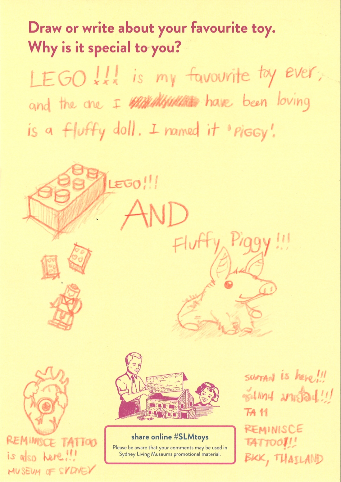 A picture of lego and a fluffy pig