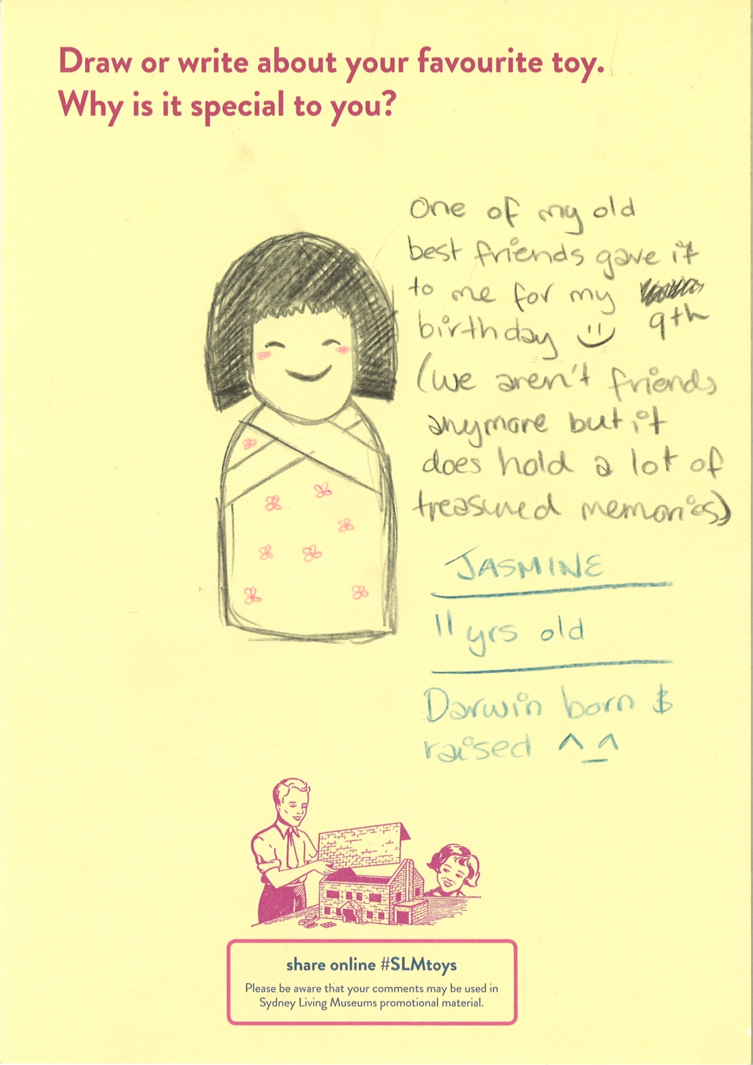 Drawing of wooden Japanese doll