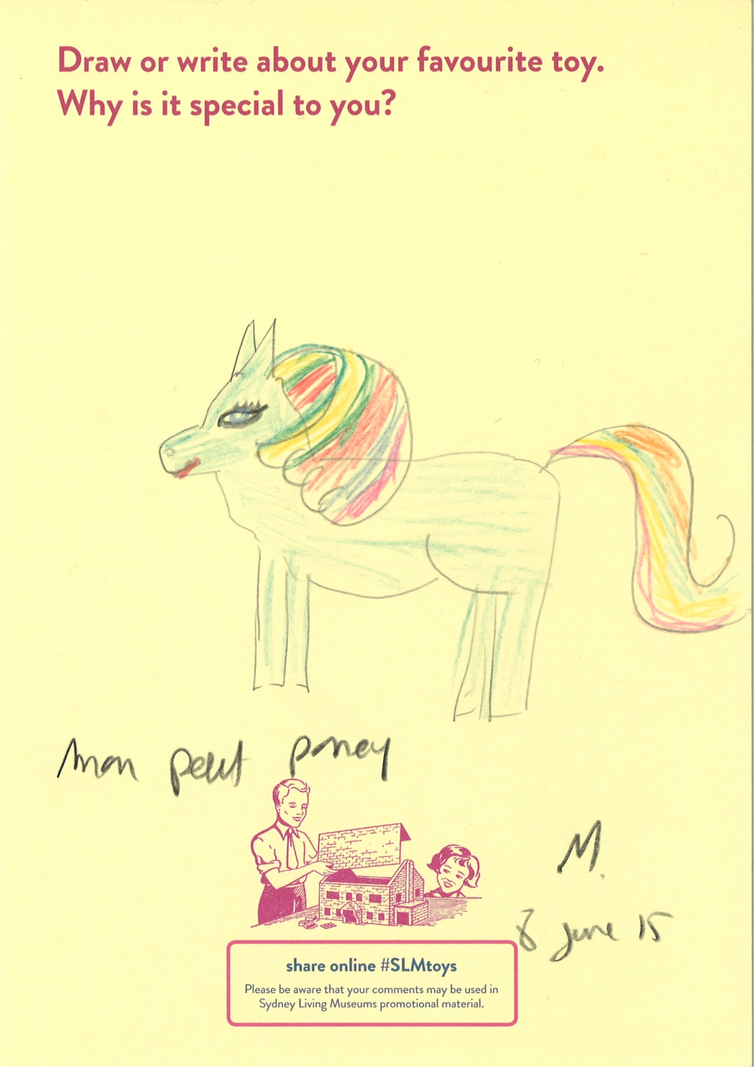 "Child's drawing of blue ""my little pony"" figurine with raindbow mane and tail"
