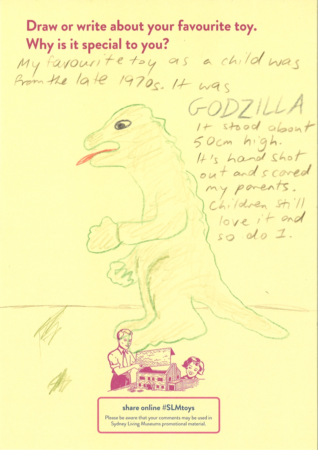 Drawing of Godzilla toy