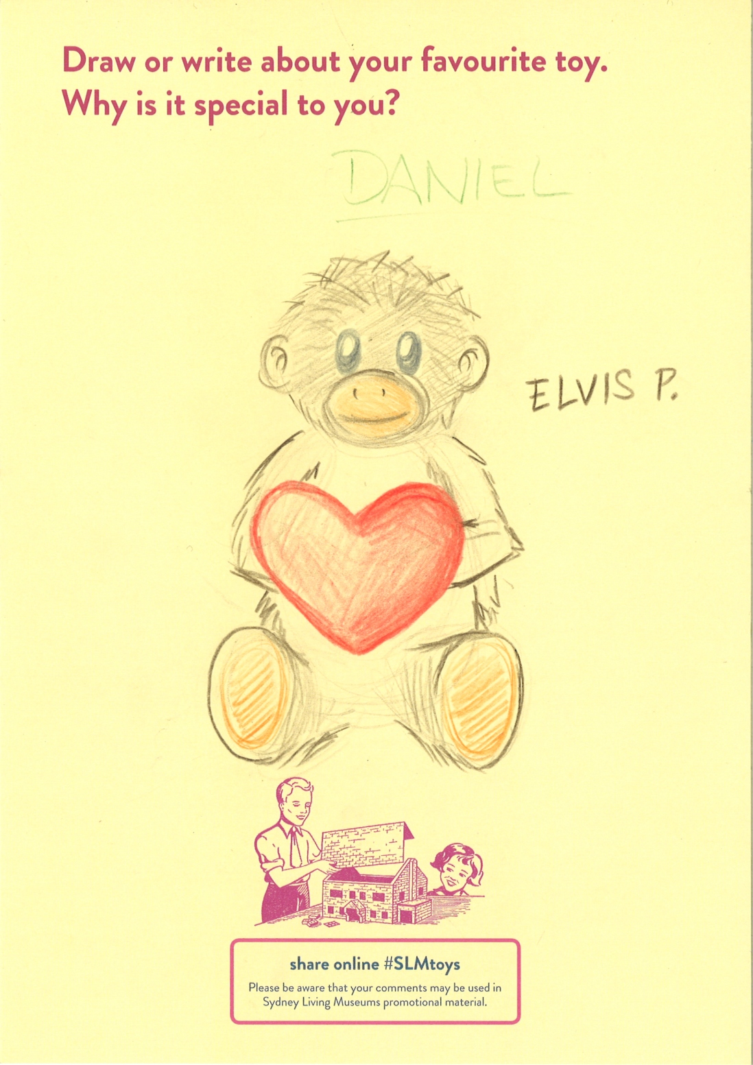 A drawing of a plush monkey holding a love heart