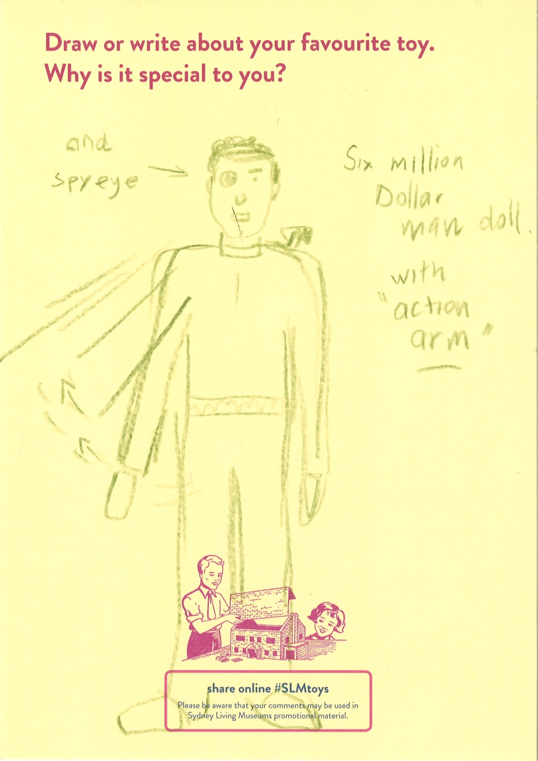 A drawing of the six million dollar man action figure with spy eye