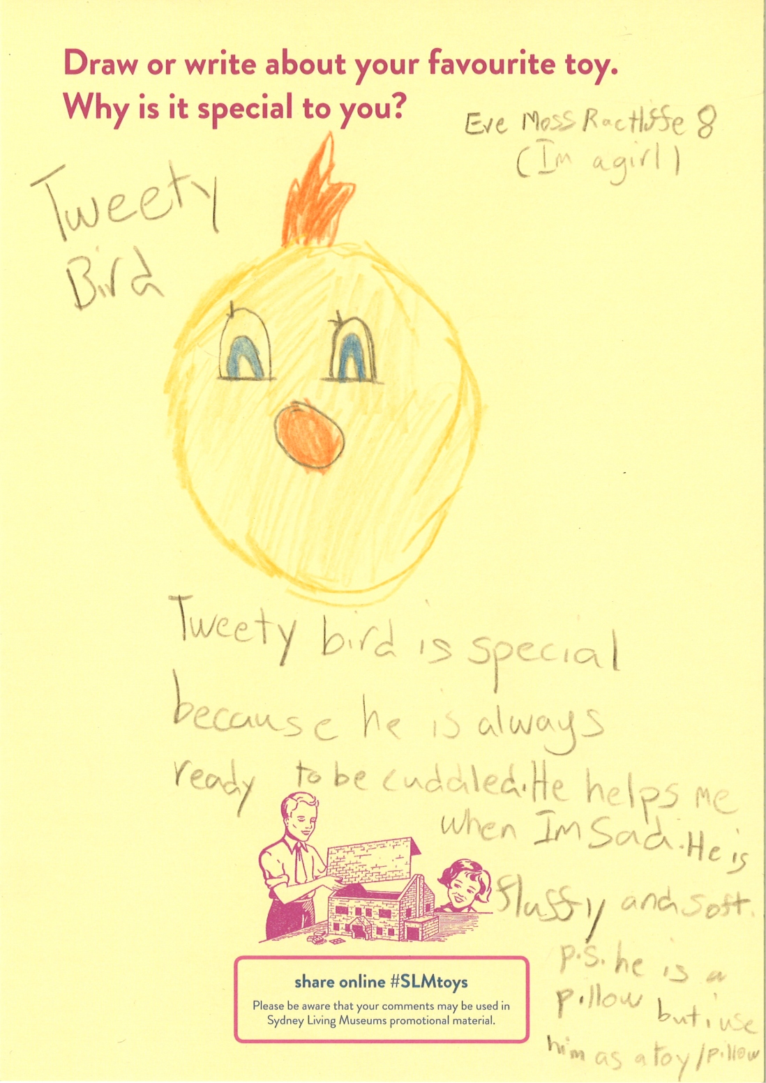 A child's drawing of tweety bird pillow toy