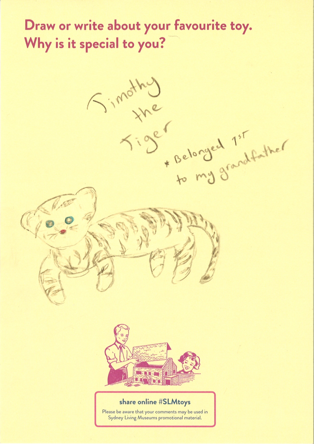 Drawing of a plush tiger toy with blue eyes