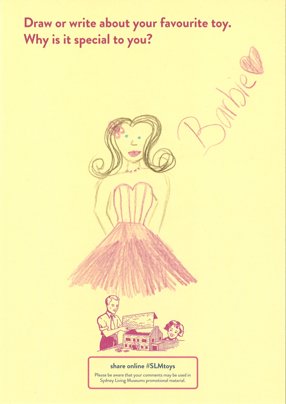 A Child's drawing of a barbie in pretty pink dress