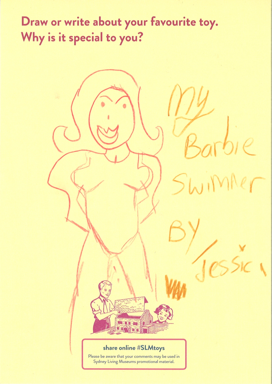 A drawing of Barbie in a swimming costume