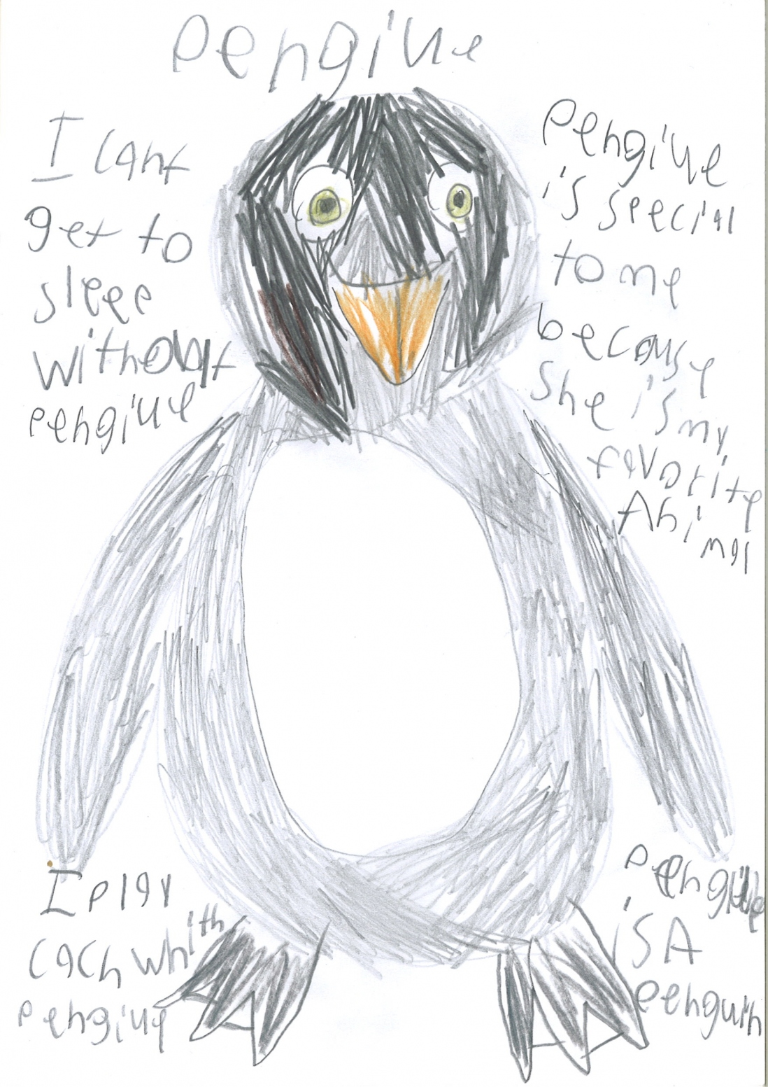 Drawing of a toy penguin