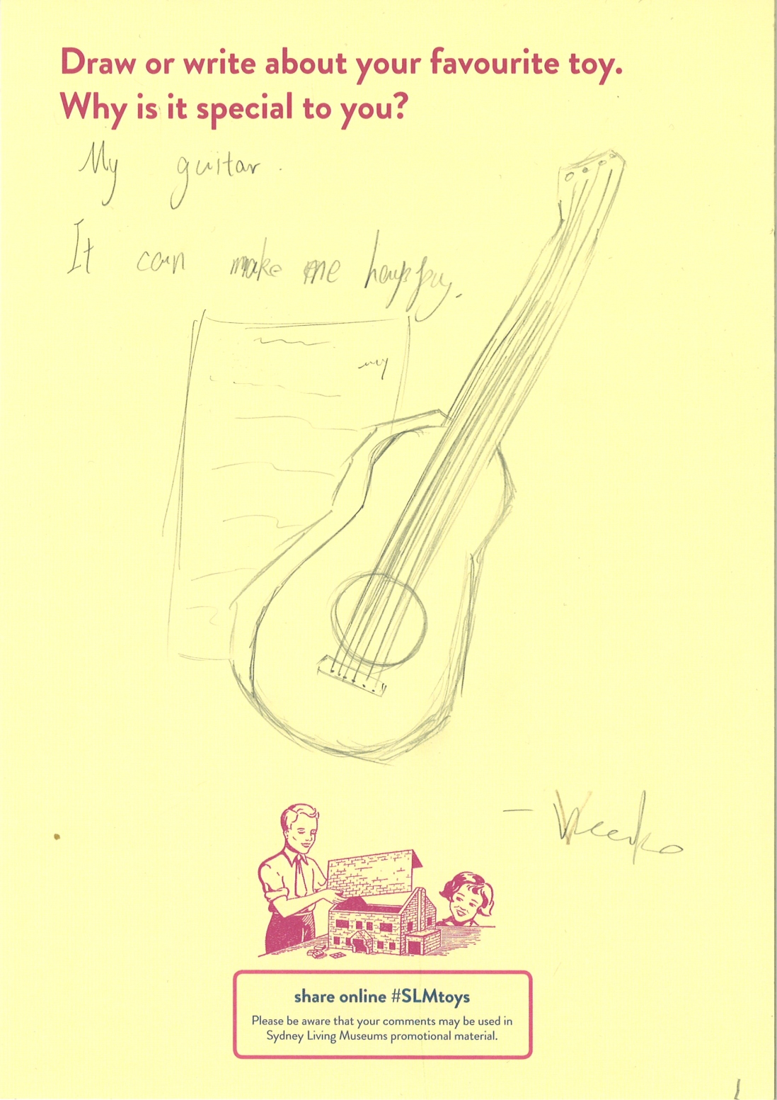 Drawing of a guitar and sheet music